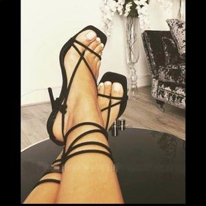 Square Toe Lace Up High Heel Womens Sandals